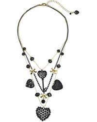 Betsey Johnson Black Hearts Heart Key Illusion Necklace - Lyst