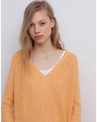 Pull&Bear Pearl Knit V-Neck Jumper - Lyst