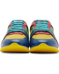 Burberry Prorsum Blue And Yellow Multi Colorblock Sneakers - Lyst