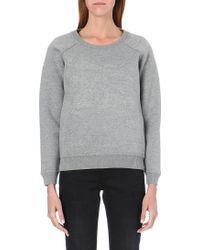 Burberry Logoembossed Cotton Sweatshirt Mid Grey Melange - Lyst