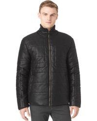 Calvin Klein Pattern Blocking Faux Leather Puffer Jacket - Lyst