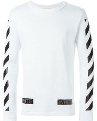 Off-White c/o Virgil Abloh Striped Sleeve Sweatshirt - Lyst