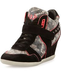 Ash Bisou Snake-Embossed Leather Sneakers - Lyst
