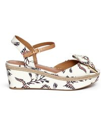 Tory Burch 'Penny' Floral Print Canvas Wedge Sandals white - Lyst