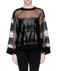 Ms Min Laminated Stroke Print Organza Sweatshirt - Lyst