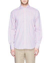 Canali Gingham Check Cotton Shirt - Lyst
