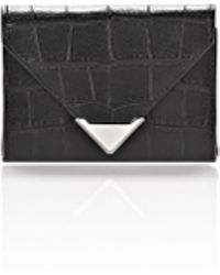 Alexander Wang | Prisma Envelope Compact In Croc Embossed Black With Rhodium | Lyst