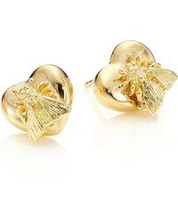 Gucci   18k Yellow Gold Bee Heart Stud Earrings   Lyst