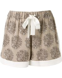 Sea Grey Silk Shorts Embellished with Black and White Flower Prints - Lyst