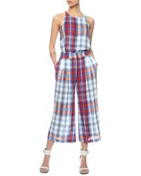 Thakoon Addition Red Multi Plaid Tank Jumpsuit blue - Lyst