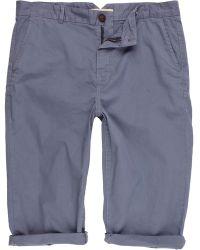 River Island Light Blue Crop Shorts - Lyst
