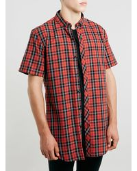 Topman Red Check Long Line Shirt - Lyst