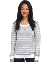 Three Dots Ls Stripe Sweatshirt - Lyst