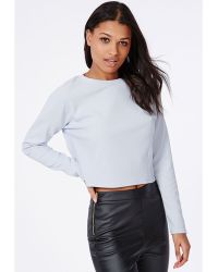 Missguided Long Sleeve Ribbed Cropped Sweater Baby Blue - Lyst