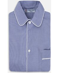 Turnbull & Asser | Blue Fine Check Piped Cotton Nightshirt | Lyst