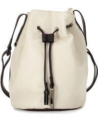 Halston Heritage | Colorblock Drawstring Leather Bucket Bag | Lyst