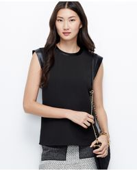 Ann Taylor Faux Leather Cap Sleeve Top - Lyst