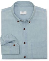 Club Monaco Slim Fit Chambray Shirt - Lyst