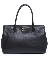 Chanel Pre-owned Black Caviar Executive Tote Bag - Lyst