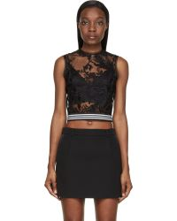 Denis Gagnon Black Floral Lace Sheer Sleeveless Top - Lyst