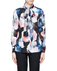St. John Floral Print Scarf Silk Blouse - Lyst