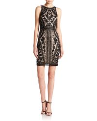 Theia Floral Beaded Cocktail Dress - Lyst