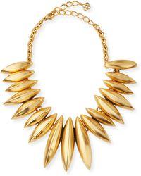Oscar de la Renta Golden Ridged Disc Necklace - Lyst