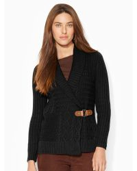 Ralph Lauren | Cable-knit Shawl Cardigan | Lyst