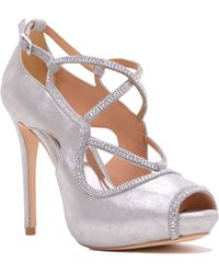Badgley Mischka Laguna Metallic Suede Strappy Peep Toe - Lyst