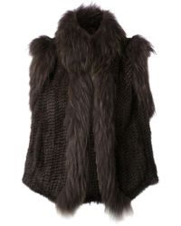 Yves Salomon Gray Textured Gilet - Lyst