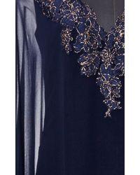 Reem Acra - Navy Embroidered Deep V Caftan - Lyst