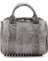 Alexander Wang White And Black Spotted Leather Rockie Duffle Bag - Lyst