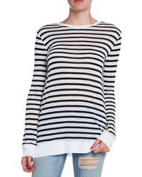 T By Alexander Wang Striped Rayon Linen Long Sleeve Tee - Lyst