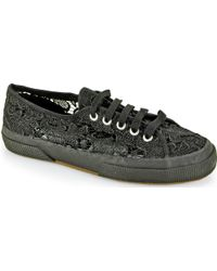 Superga Black Lace Sneaker - Lyst