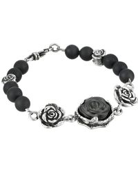 King Baby Studio 8Mm Onyx Bead Bracelet With Carved Jet Rose And Silver Roses silver - Lyst