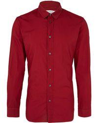 Maison Margiela Red Overdyed Cotton Shirt - Lyst