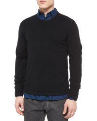 John Varvatos - Leather-trimmed Crewneck Sweater - Lyst