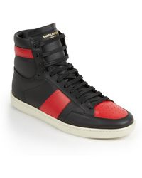 Saint Laurent Colorblocked Leather High-Top Sneakers black - Lyst
