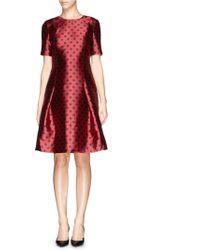 St. John Polka Dot Print Satin Dress red - Lyst