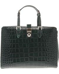 Giorgio Armani Ginevra-Medium-Size-Printed-Leather-Top-Handle-Bag - Lyst