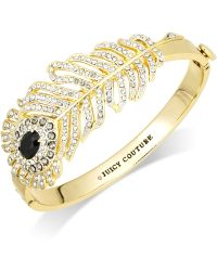 Juicy Couture - Goldtone Crystal Pave Feather Hinge Bangle Bracelet - Lyst