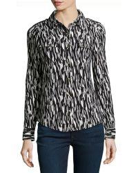 BCBGMAXAZRIA Watercolorprint Jersey Buttonfront Blouse - Lyst