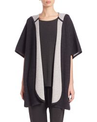 Eileen Fisher | Hooded Knit Poncho | Lyst