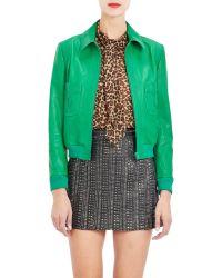 Saint Laurent Patch Pocket Leather Jacket - Lyst
