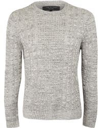 Rag & Bone Grey Fine Cable Knit Jumper - Lyst