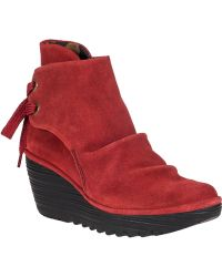 Fly London Yama Wedge Boot Red Suede - Lyst