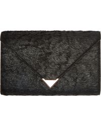 Alexander Wang Black Coated Calf Hair Prisma Envelope Wallet - Lyst