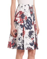 Carolina Herrera | Roses & Dots Cloque Skirt | Lyst