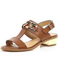 River Island Light Brown T Bar Chain Trim Sandals - Lyst