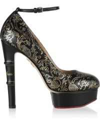 Charlotte Olympia Matilda Printed Leather Pumps - Lyst